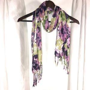 PurpleGreen Floral Fringe Scarf